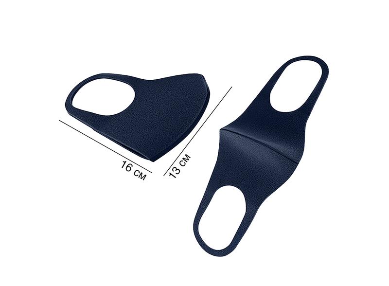 АКЦИЯ! Защитная трехслойная маска многоразовая темно-синяя - Фото 4
