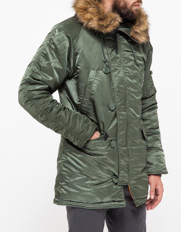 Куртка аляска N-3B Slim Fit Parka Alpha Industries (оливкова) - Фото 4