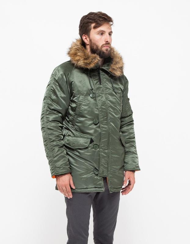 Куртка аляска N-3B Slim Fit Parka Alpha Industries (оливкова) - Фото 6