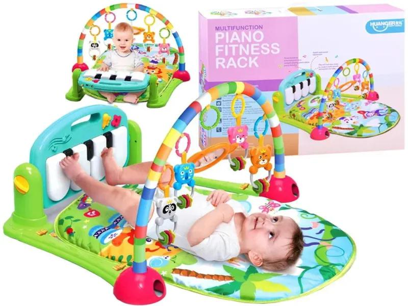 Детский развивающий коврик зелёный PIANO FITNESS RACKНЕ