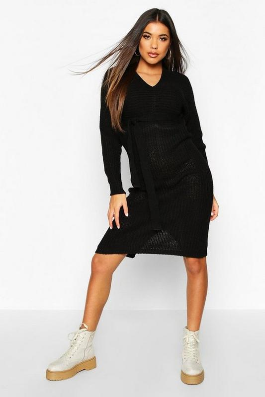 Boohoo. товар из англии. платье джемпер с поясом.