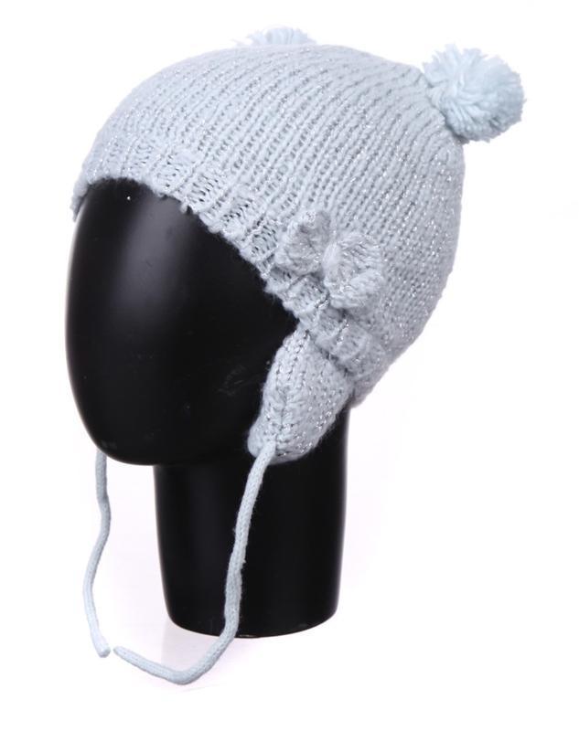 Демисезонная светло-серая шапка на флисе для девочки на 6-9мес...