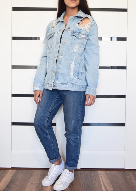 Джинсовая куртка с рваностями topshop - Фото 4