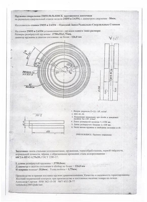Пружина противовеса 2М55 и 2А554 спиральная ленточная на рад-свер