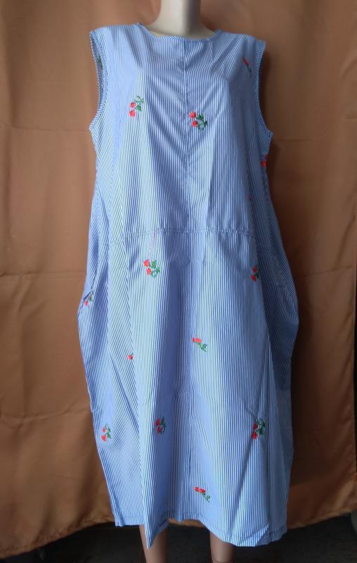 Летнее батальное платье с вышивкой