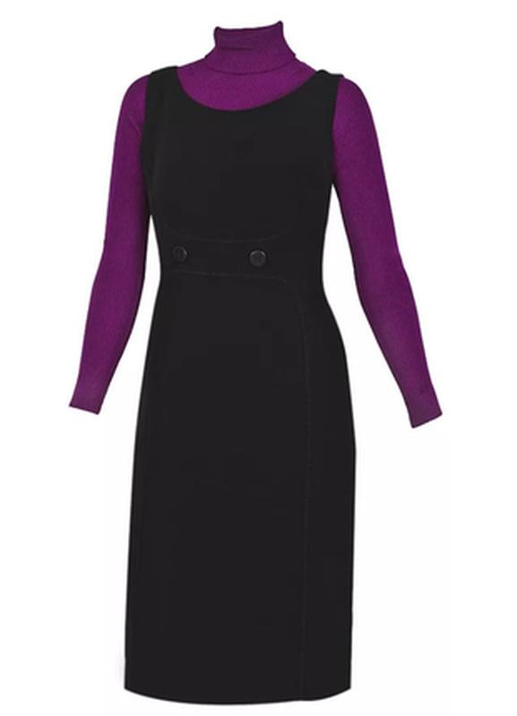 Классическое идеально чёрное платье футляр сарафан миди