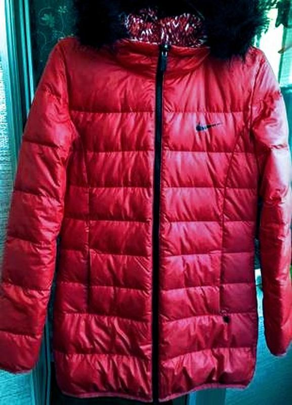 Пуховик женский nike оригинал удлинённая куртка двухсторонняя ... - Фото 2