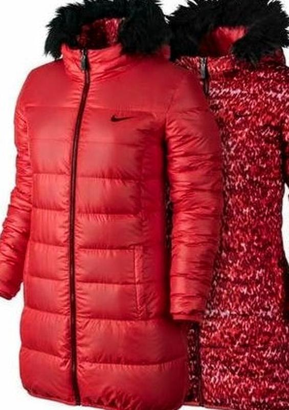 Пуховик женский nike оригинал удлинённая куртка двухсторонняя ... - Фото 5