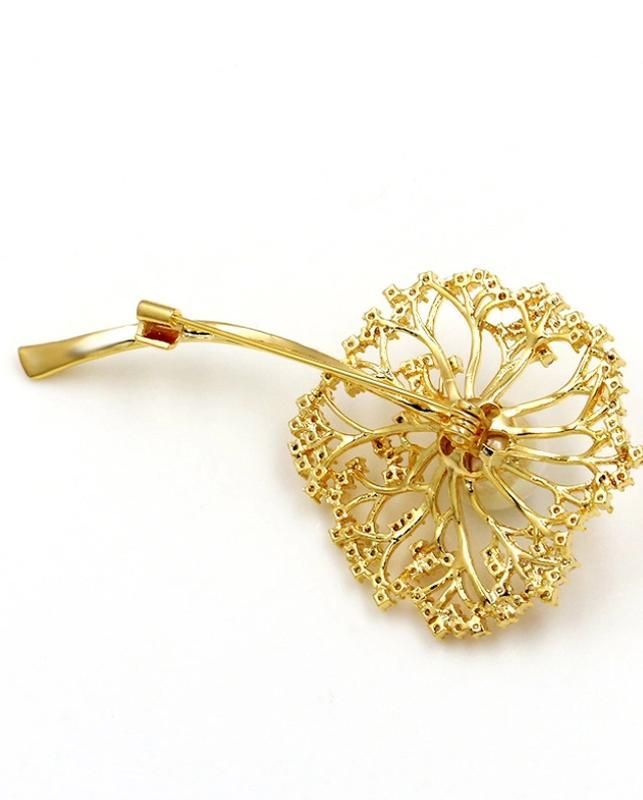 Элитная ювелирная брошь одуванчик с цирконием - Фото 2