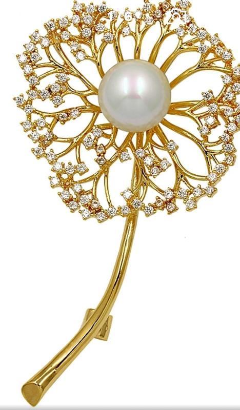 Элитная ювелирная брошь одуванчик с цирконием - Фото 3