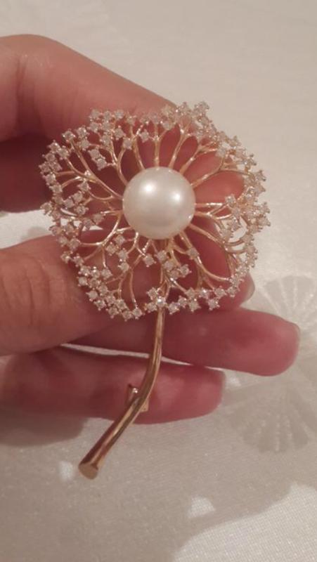 Элитная ювелирная брошь одуванчик с цирконием - Фото 4