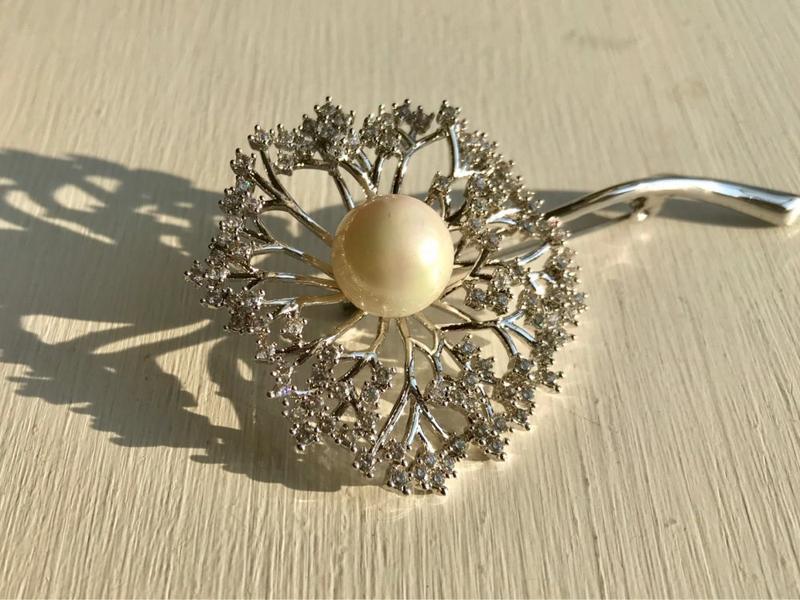 Элитная ювелирная брошь одуванчик с цирконием 70*40 мм - Фото 6