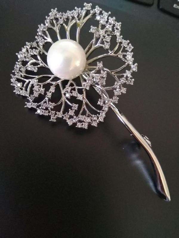 Элитная ювелирная брошь одуванчик с цирконием 70*40 мм - Фото 9