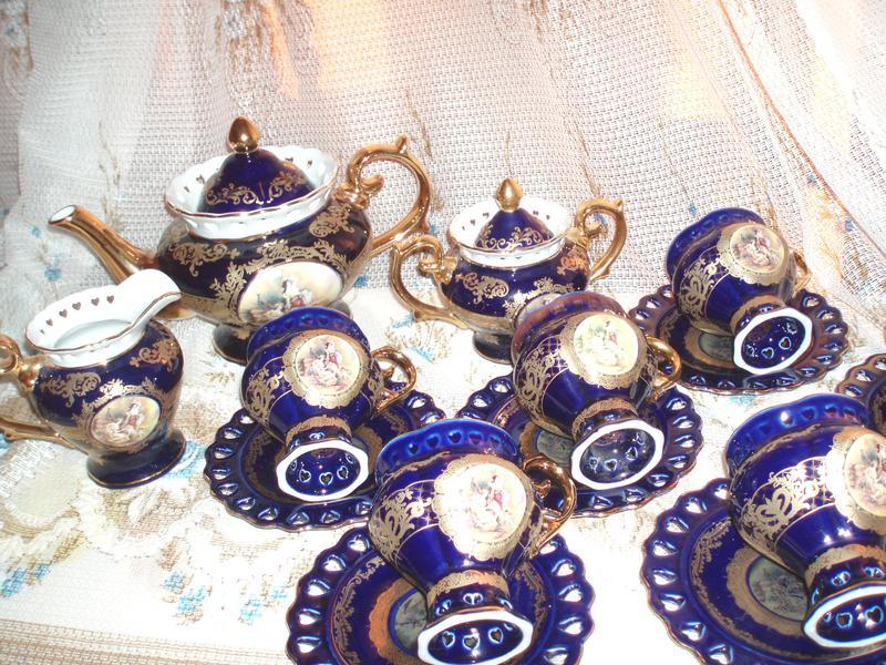 Торжественный фарфоровый чайный/кофейный сервиз 6 персон