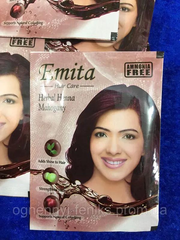 """Хна индийская для окрашивания волос """"Emita"""" - Махагон / 6шт/уп. - Фото 2"""