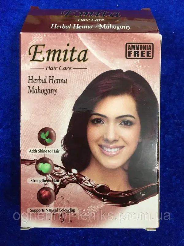 """Хна индийская для окрашивания волос """"Emita"""" - Махагон / 6шт/уп."""