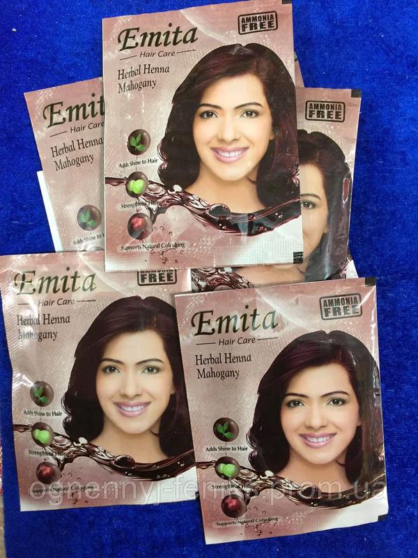 """Хна индийская для окрашивания волос """"Emita"""" - Махагон / 6шт/уп. - Фото 3"""