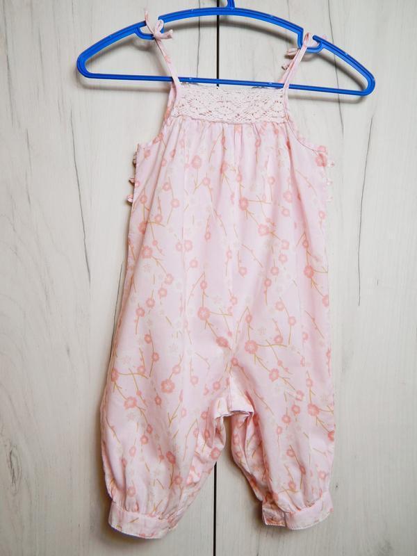 Розовый песочник-комбинезон на 3-6месяцев - Фото 3