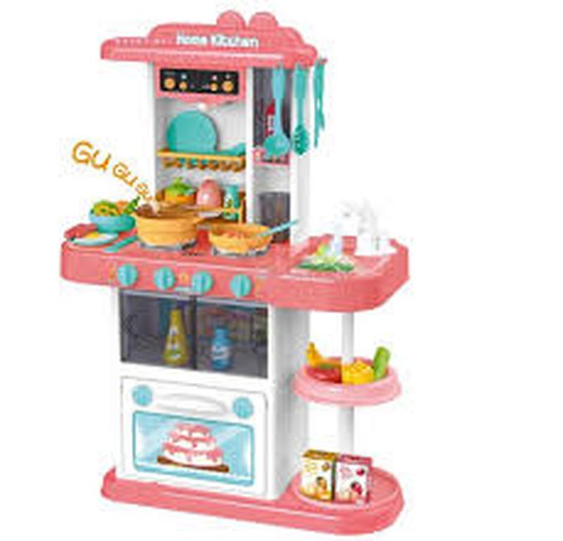 Детская игровая кухня с водой и паром 889-152 розовая, 43 предмет