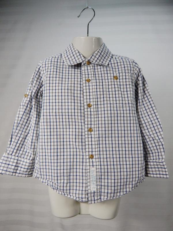 Легкая рубашка в клеточку на мальчика 3х лет