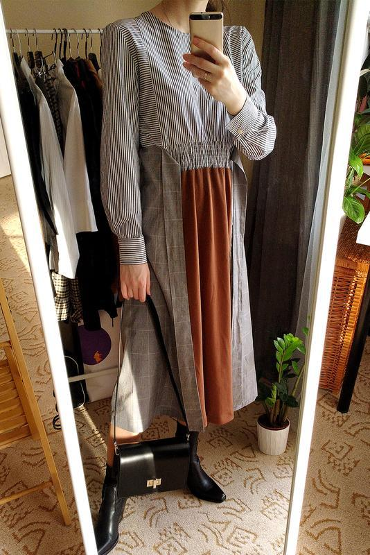 Новое платье из комбинированных тканей - Фото 3