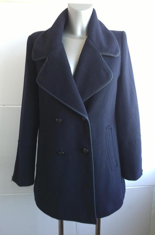 Стильное шерстяное пальто topshop темно-синего цвета