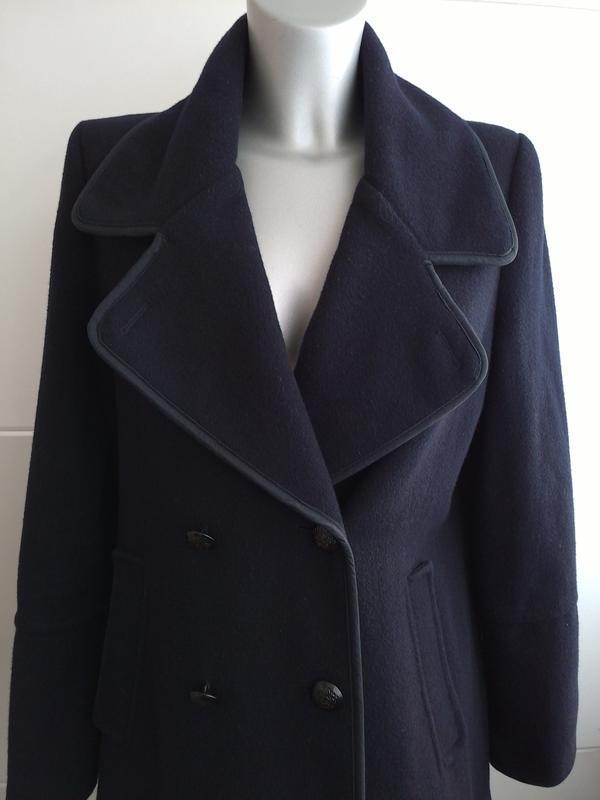 Стильное шерстяное пальто topshop темно-синего цвета - Фото 3