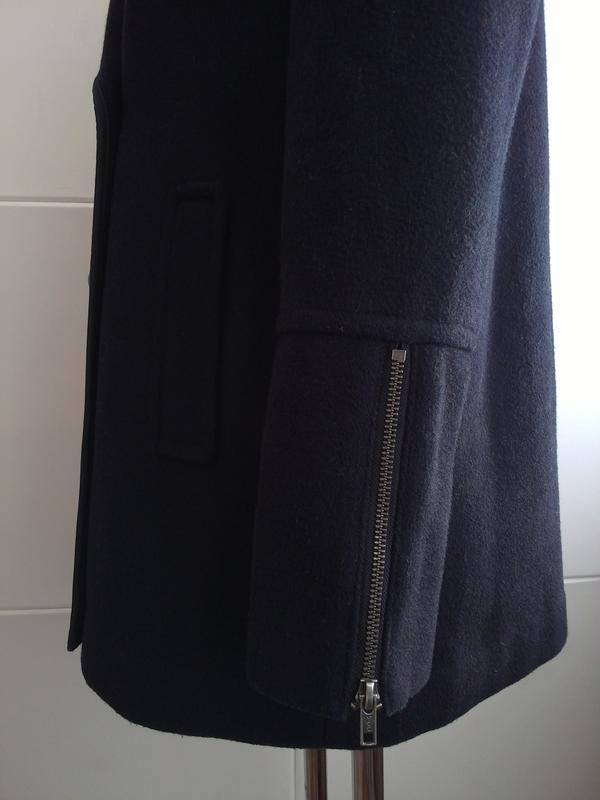 Стильное шерстяное пальто topshop темно-синего цвета - Фото 4