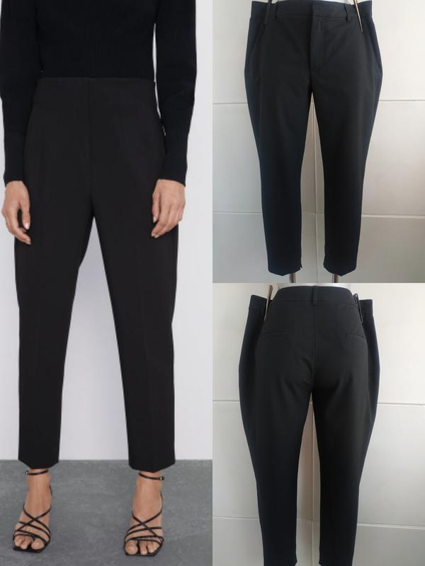 Стильные зауженные брюки zara базового черного цвета с карманами