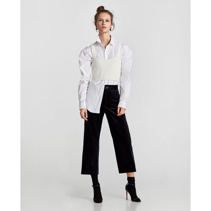 Zara basic прямые бархатные брюки базовая коллекция из велюра ... - Фото 2