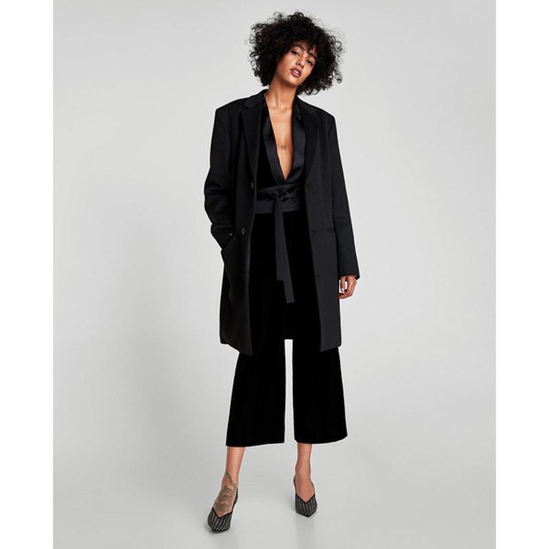 Zara basic прямые бархатные брюки базовая коллекция из велюра ... - Фото 3