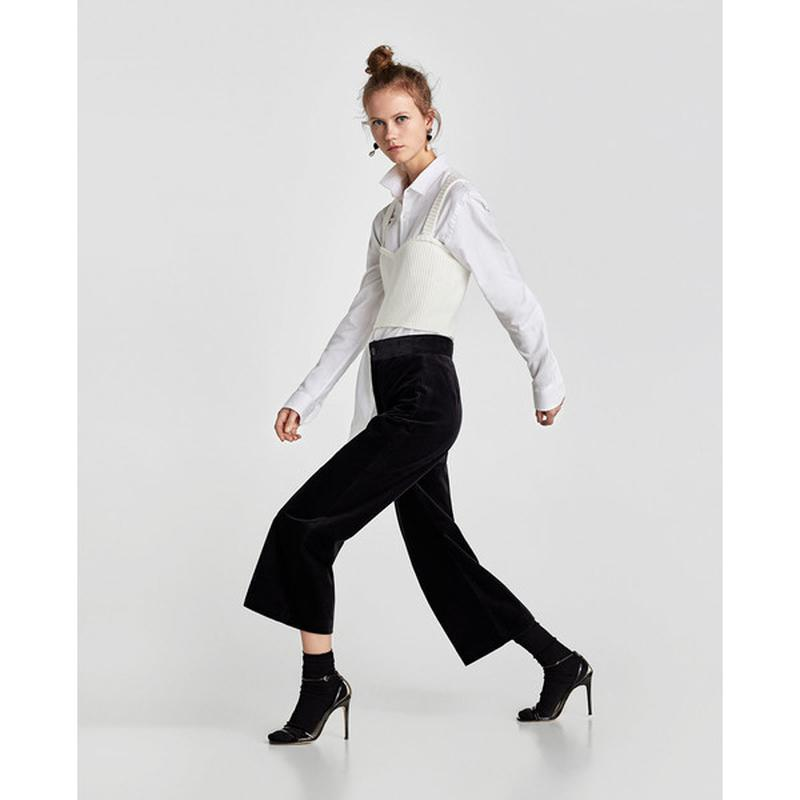 Zara basic прямые бархатные брюки базовая коллекция из велюра ... - Фото 4