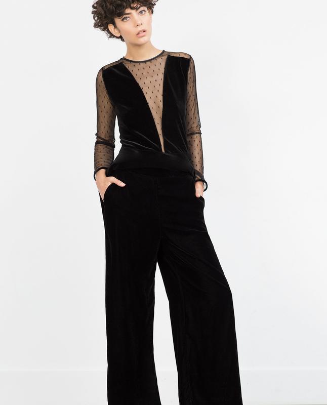 Zara basic прямые бархатные брюки базовая коллекция из велюра ... - Фото 5
