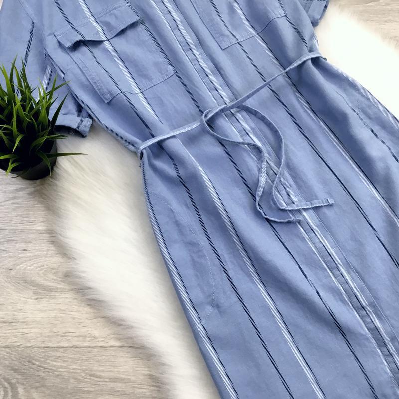 Платье рубашка в полоску (в составе есть лён) - Фото 2