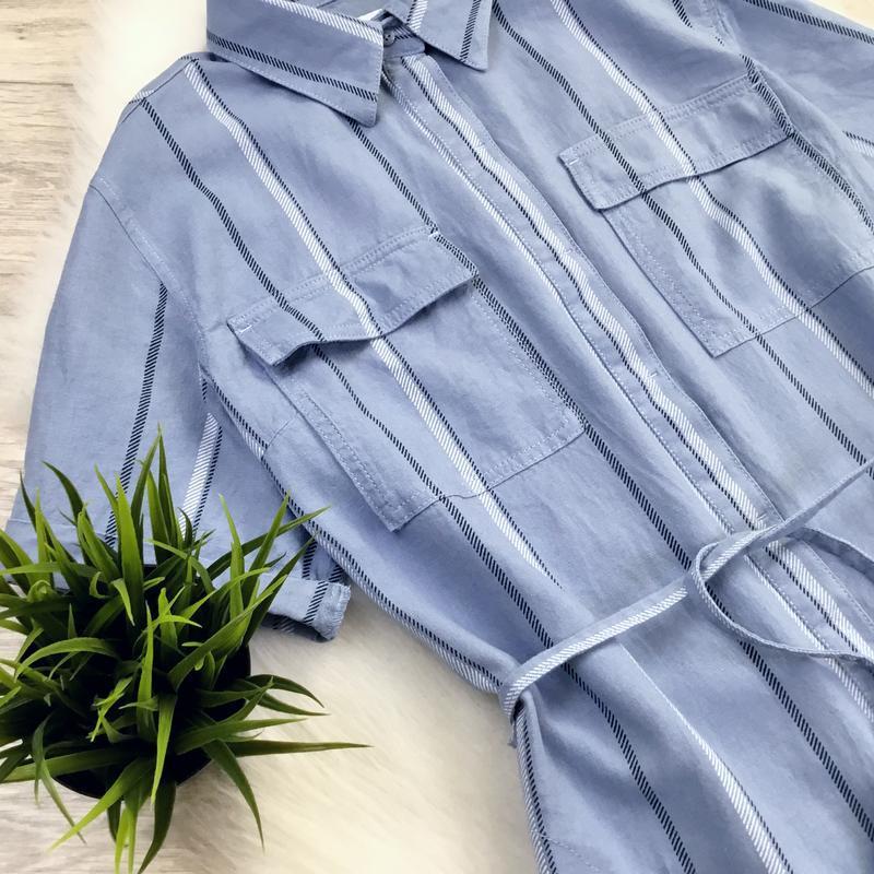 Платье рубашка в полоску (в составе есть лён) - Фото 3