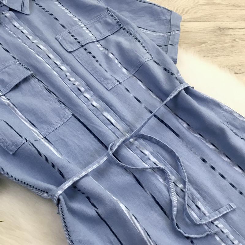 Платье рубашка в полоску (в составе есть лён) - Фото 5