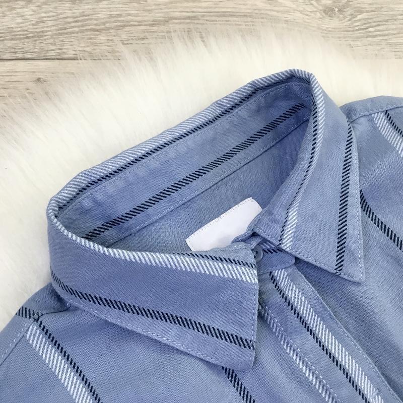 Платье рубашка в полоску (в составе есть лён) - Фото 8