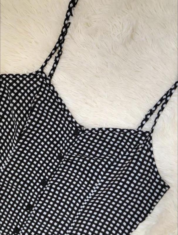 Трендовое платье сарафан в клетку с пуговицами h&m размер 50 - Фото 2