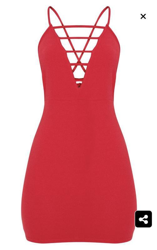 Новое с биркой шикарное красное платье prettylittlething