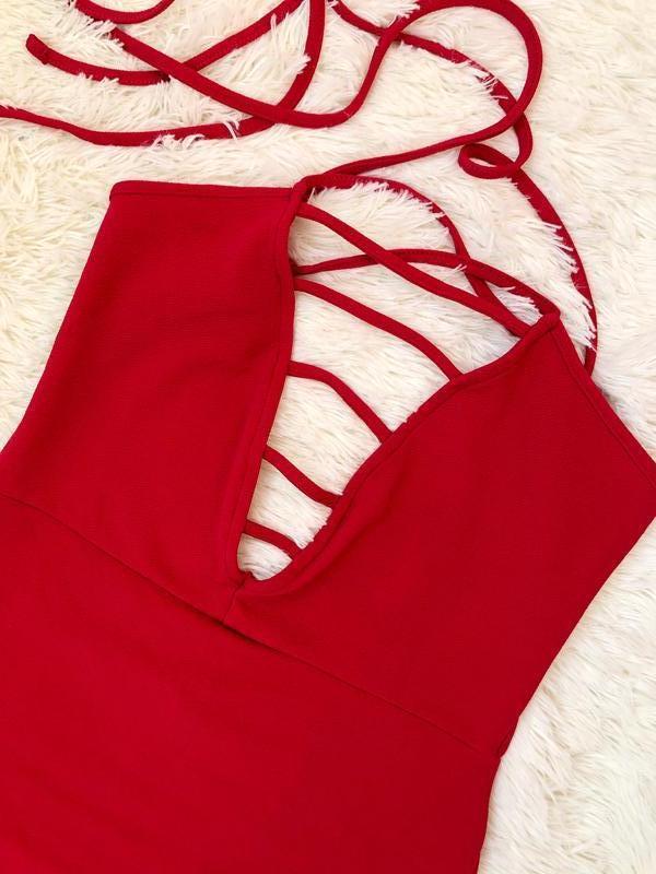 Новое с биркой шикарное красное платье prettylittlething - Фото 3