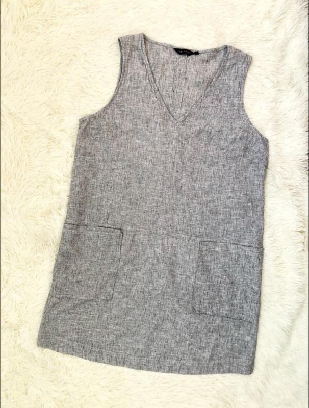 Серое льняное платье new look большой размер 56 новая коллекция - Фото 3