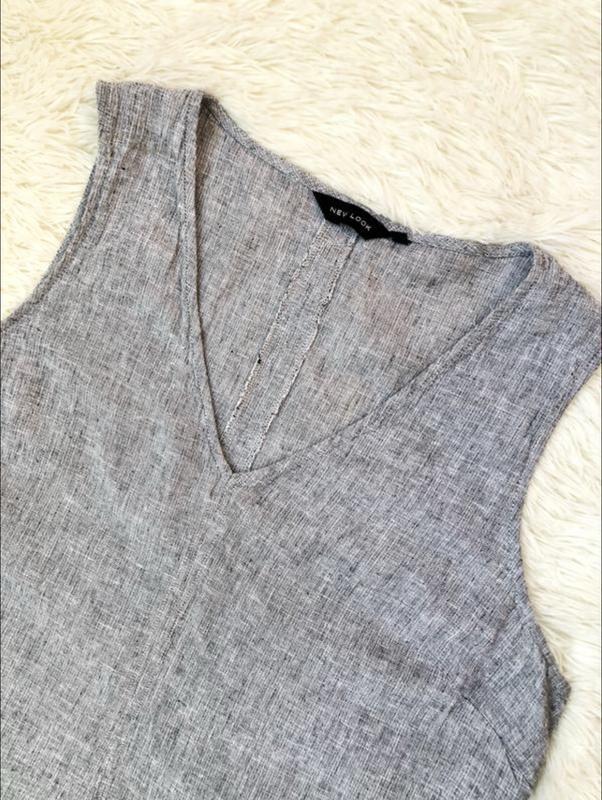 Серое льняное платье new look большой размер 56 новая коллекция - Фото 4