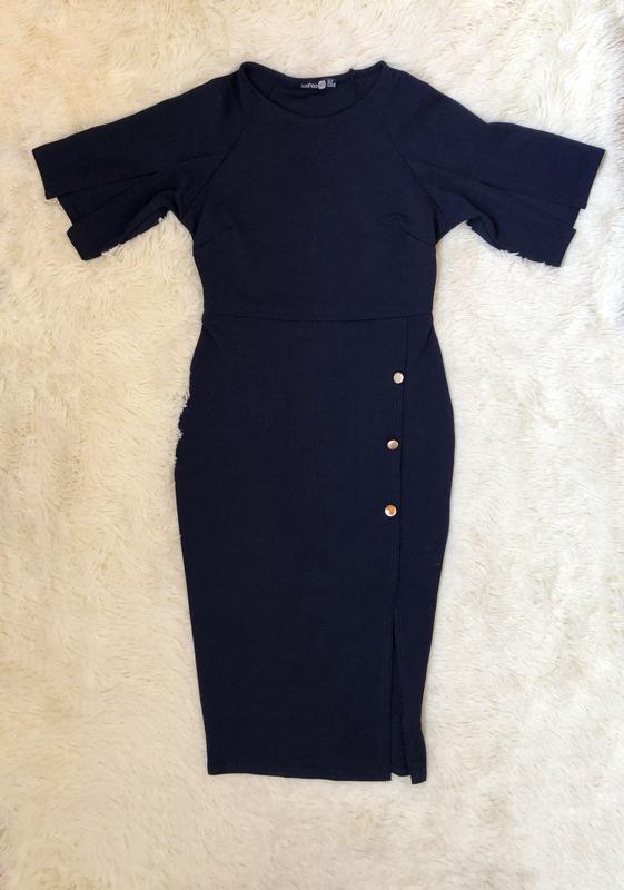 Темно синее платье миди по фигуре boohoo размер 46