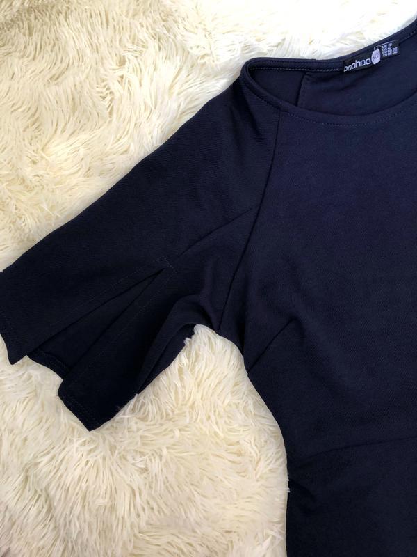 Темно синее платье миди по фигуре boohoo размер 46 - Фото 2