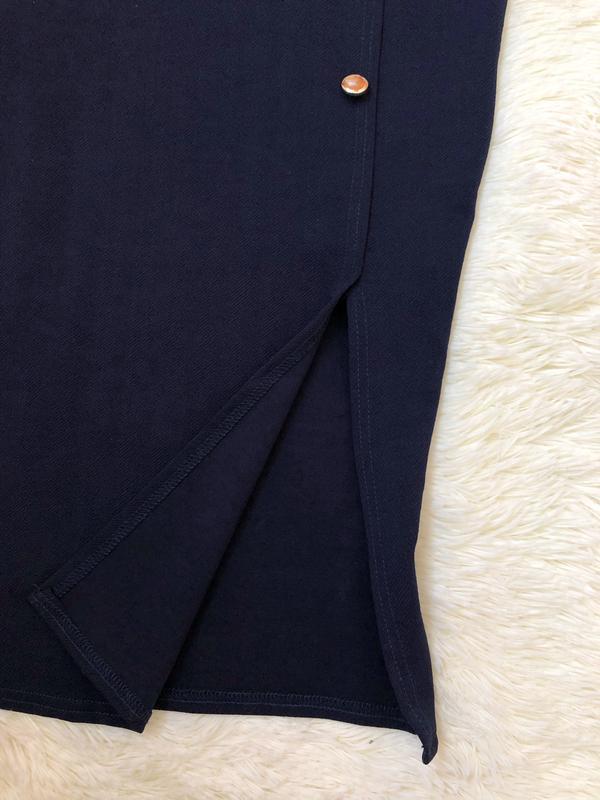 Темно синее платье миди по фигуре boohoo размер 46 - Фото 5
