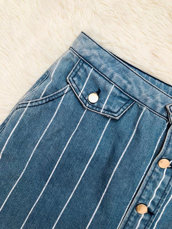 Новая с биркой джинсовая юбка в полоску с пуговицами by very р... - Фото 4