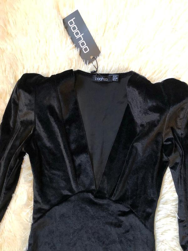 Новое с биркой шикарное чёрное велюровое платье boohoo - Фото 4