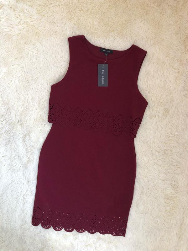 Новое с биркой бордовое марсала платье new look размер 48 - Фото 2