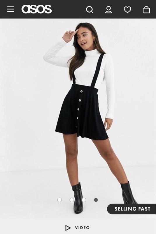 Новая с биркой чёрная юбка сарафан на пуговицах asos новая кол...