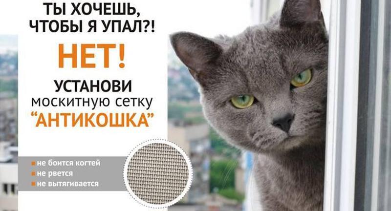Москитная сетка для защиты от выпадения с окон домашних животных